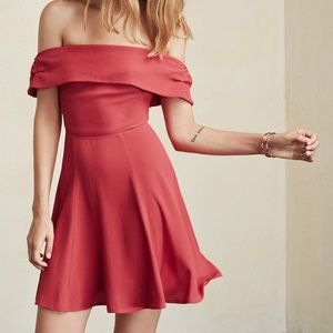 Reformation Red Canopy Off the Shoulder Dress, 0